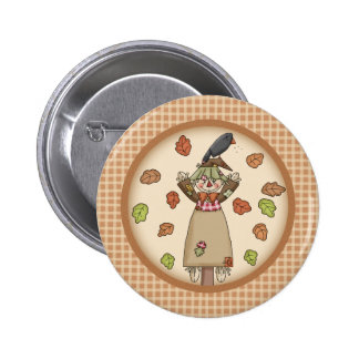 Autumn Country Style Screcrow on Plaid Pattern Pin