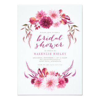 Autumn Dahlias Watercolor Bridal Shower Invitation