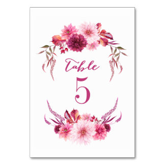Autumn Dahlias Watercolor Fall Table Numbers Table Card