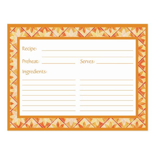 Autumn Decorative Floral Tiles Recipe Card