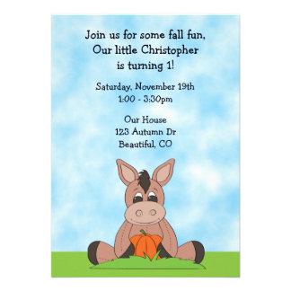 Autumn Donkey 1st Birthday Invitation