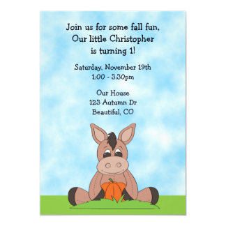 Autumn Donkey 1st Birthday Invitation