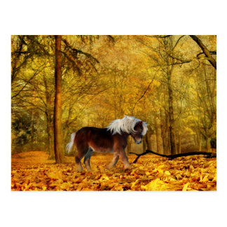 Autumn draft horse postcard