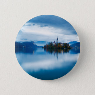 Autumn dusk at Lake Bled 2 Inch Round Button