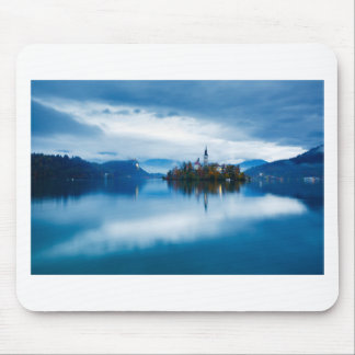 Autumn dusk at Lake Bled Mouse Pad