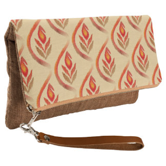 Autumn Earthy Ikat Hand painted Paisley Clutch