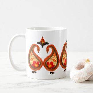 Autumn Earthy Ikat Hand painted Paisley Coffee Mug