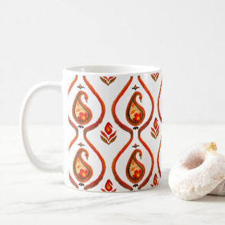 Autumn Earthy Ikat Hand painted Paisley Coffee Mug