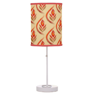 Autumn Earthy Ikat Hand painted Paisley Table Lamp