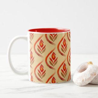 Autumn Earthy Ikat Hand painted Paisley Two-Tone Coffee Mug