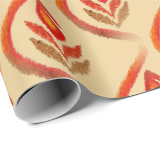 Autumn Earthy Ikat Hand painted Paisley Wrapping Paper