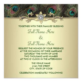 "Autumn Emerald Green Gold Peacock Wedding 5.25"" Square Invitation Card"