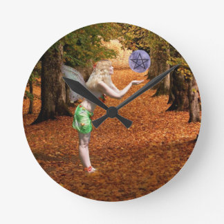 Autumn Faerie Round Clock