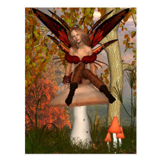 Autumn Fairy sitting on a toadstool with woodland Postcard