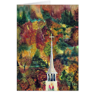 Autumn Faith watercolor painting Card