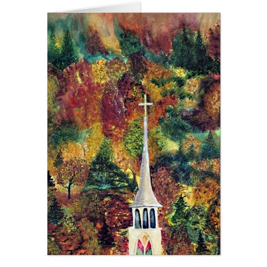 Autumn Faith watercolor painting Card