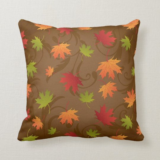 Autumn, Fall Colour Leaves on Brown Background Throw Pillow