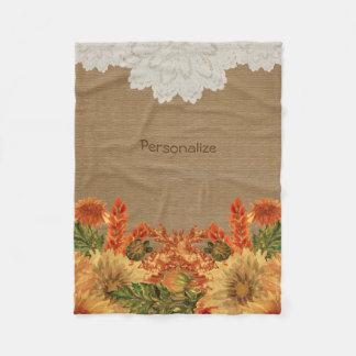 Autumn Fall Flower Design Fleece Blanket