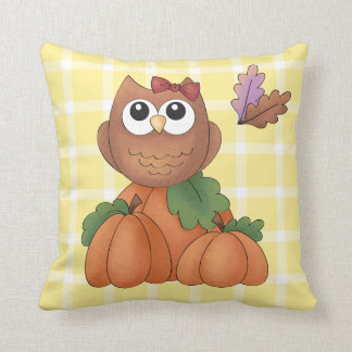 Autumn Fall Harvest Owl Pumpkin Yellow Plaid Throw Pillow