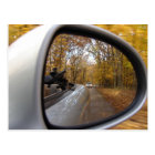 AUTUMN / FALL IN THE REAR VIEW MIRROR SPORTS CAR POSTCARD