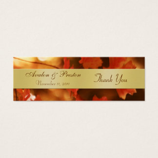 Autumn Fall Leaf Gold Wedding Favor Tag Mini Business Card
