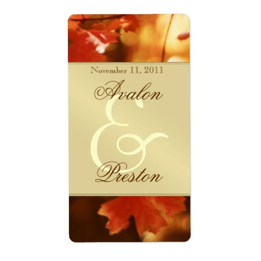 Autumn Fall Leaf Gold Wine Wedding Label