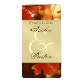 Autumn Fall Leaf Gold Wine Wedding Label Shipping Label