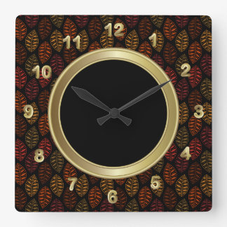 Autumn Fall Leaf Pattern Clock