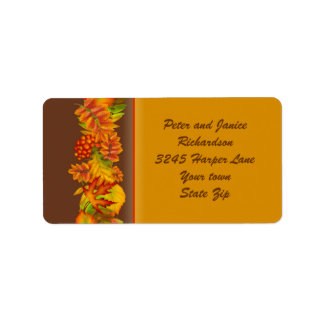 Autumn fall leaves and berries Thanksgiving  Label