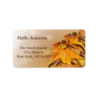 Autumn Fall Leaves Bokeh Label