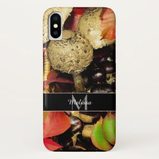 Autumn Fall leaves chestnuts mushrooms Monogram Case-Mate iPhone Case
