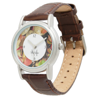 Autumn Fall leaves chestnuts mushrooms Monogram Watch