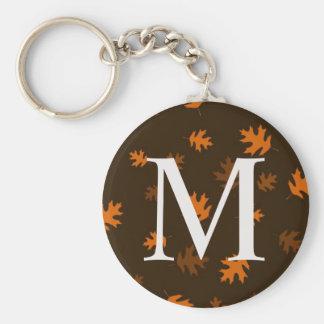 Autumn Fall Leaves Monogram - Keychain Gift Orange