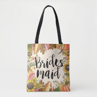 Autumn Fall Leaves Pumpkin Wedding Bridesmaid Tote Bag
