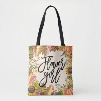 Autumn Fall Leaves Pumpkin Wedding Flower Girl Tote Bag