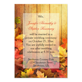 "Autumn Fall Leaves Reception Only Celebration 5"" X 7"" Invitation Card"