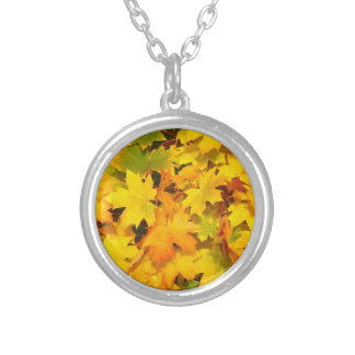 Autumn Fall Leaves Silver Plated Necklace