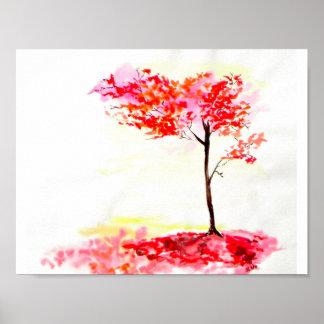Autumn Fall leaves tree print watercolour