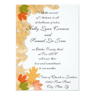 "Autumn Fall Leaves Wedding 5.5"" X 7.5"" Invitation Card"