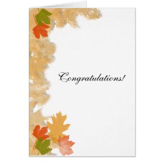 Autumn Fall Leaves Wedding Congratulations Greeting Card