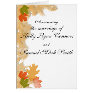Autumn Fall Leaves Wedding Greeting Card