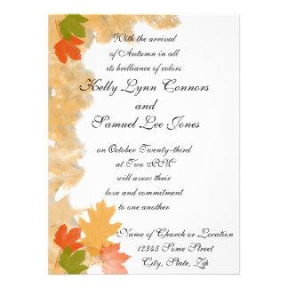 Autumn Fall Leaves Wedding Custom Invitation