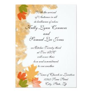 "Autumn Fall Leaves Wedding 5.5"" X 7.5"" Invitation Card"
