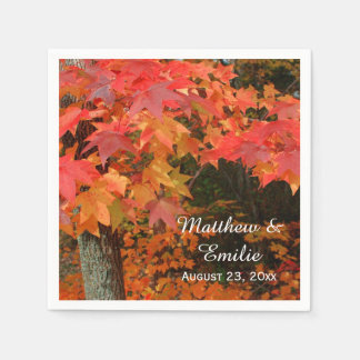Autumn Fall Leaves Wedding Napkins Paper Napkin
