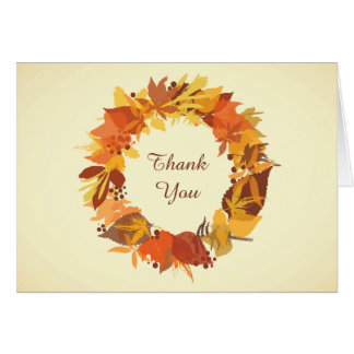 Autumn Fall Leaves Wreath Thank You Note Card