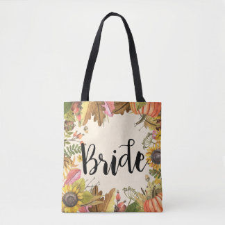 Autumn Fall Maple Leaves Pumpkin Wedding Brides Tote Bag