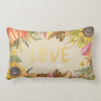 Autumn Fall Maple Leaves Pumpkin Wedding Shower Lumbar Pillow