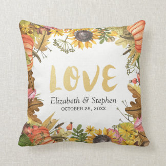 Autumn Fall Maple Leaves Pumpkin Wedding Shower Throw Pillow