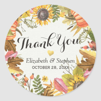 Autumn Fall Maple Leaves Pumpkin Wedding Thank You Classic Round Sticker