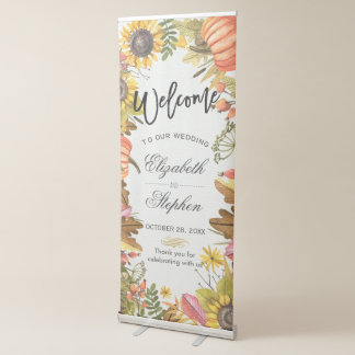 Autumn Fall Maple Leaves Pumpkin Wedding Welcome Retractable Banner